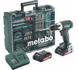 Аккумуляторный винтоверт METABO BS 18 LT Set с набором оснастки 602102600